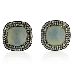 21 Ct Sapphire Pave Diamond 18 Kt Gold Stud Earrings 925 Sterling Silver Jewelry