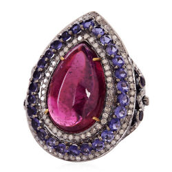 21.65ct Rubyllite Iolite Diamond 18kt Gold Sterling Silver Cocktail Ring Jewelry