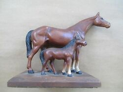 X Rare X Antique Hubley Cast Iron Equestrian Doorstop Horse And Colt Paperweight