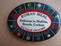 Antique Celluloid Pocket Mirror Advertising Roman Meal W/ Astrology Chart 1900's