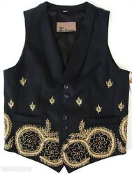 🆕️ 2900 John Galliano Black Gold Mexican Pearl Embroidered Vest It-48 Us-38