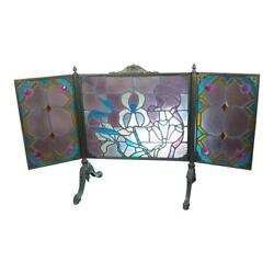 Gorgeous Art Nouveau Bronze And Stained Glass Fireplace Screen