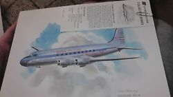 United Air Lines Collector Nixon Galloway Print Litho Douglas Dc-4 Mainliner Jet