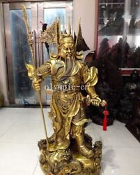 53'' Huge Brass sculpture carved nine dragon five dragon flag war god Guan Gong