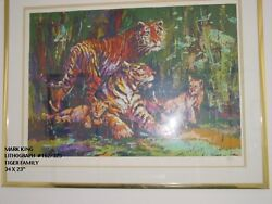 Mark King Lithograph 162/325tiger Family 34 X 23 Signed Was 2950.00