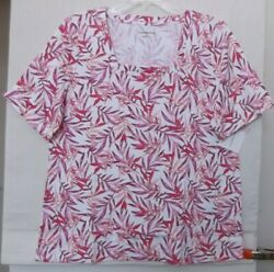 Croft And Barrow Size 1x Tropical Print Knit Top, Short Sleeve, Pinks Nwt