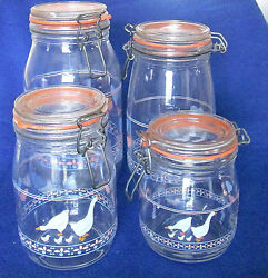 Arc French Glass Canister 4 Piece Set - Wire Bale - Hearts And Duck Family