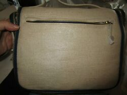 Pottery Barn SHIMMER CANVAS ULTIMATE HANGING COSMETIC BAG mono L New $37.49