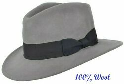 ✅quality Crushable Grey Indiana 100 Wool Felt Fedora Trilby Hat With Wide Band
