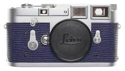 Leica M3 Just Serviced Rangefinder 35mm Film Camera Body Re Skinned Blue 984521