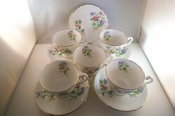 Vintage Clarence Bone China England Set Of 5 Cups And Saucers Wild Flowers