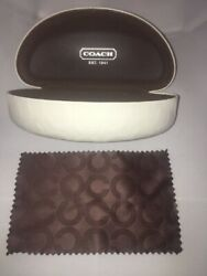 """COACH SUNGLASSES GLASSES HARD CASE CLAM SHELL STYLE WHITE WITH EMBOSSED """"Cquot; LO $9.99"""