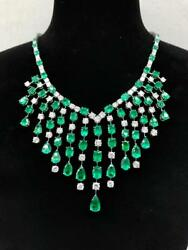 LAST CALL!! $260K RARE 18KT 50CT GORGEOUS WINSTON STYLE EMERALD DIAMOND NECKLACE