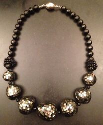 Runway 925 Ag Rkg Sterling Silver Jet Black Glass Bead Stone 24 Necklace