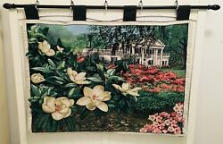 Magnolia Plantation Blossom Tapestry Floral Wall Hanging 38 X 26 With Black Rod