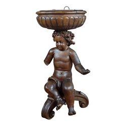 18th Century French Hand-carved Walnut Cherub With A Plant Stand