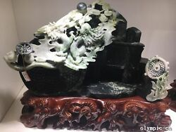 chinese dushan jade dragon RUYI quadripod  as symbol of dynasty fengshui statue