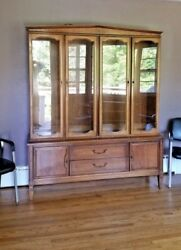 Mid Century Modern Breakfront China - Curio Cabinet 2 Piece Delivery - Arranged