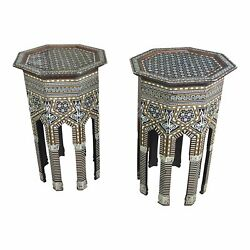 Syrian Fabulous Mother of Pearl -Octagonal side tables -a Pair