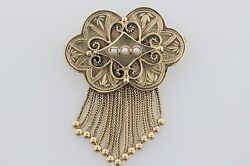 Vintage Victorian 14k Yellow Gold Etruscan Style Mini Pearl Pendant Brooch Pin