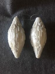 Christmas Ornaments White Oval With Seed Beads Set Of 2 Glass 6.5 Vintage