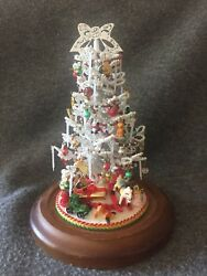 Holiday Decor Center Piece Pearl Christmas Tree With Glass Dome 8.5 Collectible