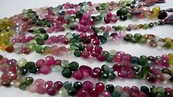 8 strands Multi Tourmaline Faceted Heart Gemstone Beads 8'' 6-9mm appx. 740 Ct