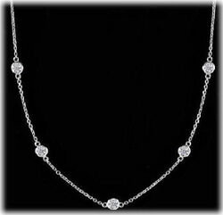 1.17 Carat Round Diamond By The Yard 14k White Gold Necklace 9 X 0.13 F-g Vs/si1