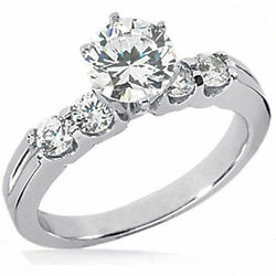 2.01 ct total 5 Round Diamond Engagement Ring Platinum Band G color SI1 clarity