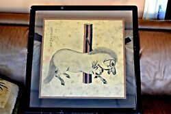 Beautiful Chinese Hand Panted On Silk Horse Signed Framed