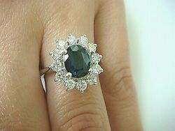 14k Gold 2.40 Ct Genuine Sapphire And Halo Diamonds Royal Engagement Ringsize 6