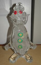 Vintage Rr Murano Glass Italy Clear Clown Figurine Milifiori Eyesbuttons