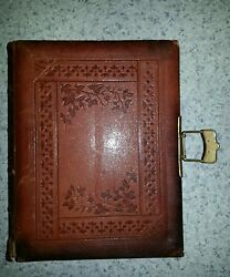 Antique Photo Album Leather Bound Brass Clasp Colorful Etchings Itself Art