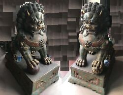 Pair 55'' Old Bronze cloisonne enamel royal guard male and female foo dogs lion