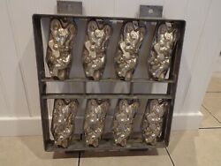 Antique/vintage Bunny Rabbit Easter Chocolate Candy Metal Hinged Molds