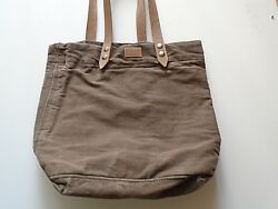 NetJets Canvas totes bag leather straps brown $12.99