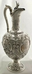Victorian Silver Claret Jug Sheffield 1865 Martin Hall And Co 22 Troy Ounces.