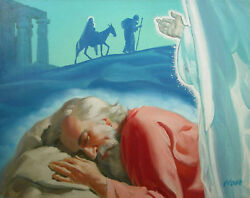 George Prout Original Oil On Canvas Flight Into Egypt