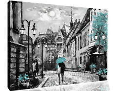 Duck Egg Blue Budapest City Umbrella Canvas Wall Art Picture Print Oil Painting