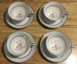 4 Kent Pattern Cups And Saucers By Noritake Discontinued