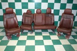 11-16 F-250 King Ranch Brown Leather Dual Power Bucket Seats Backseat Bench OEM