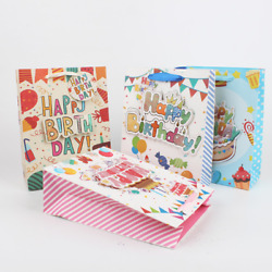 200x GLITTERED HAPPY BIRTHDAY GIFT BAG CAKE CANDLES PAPER PARTY LOOT TREATS BAGS