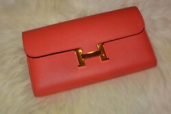 Hermes Constance Long Wallet Clutch Epsom Worn Twice Authentic Almost Pristine
