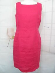 Talbots dress Petite 8 100% Irish Linen Sleeveless Bright Pink Dress Lined p8