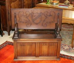 English Antique Oak Wooden Entryway Monks Bench with Storage  Hall Bench