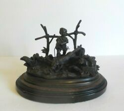 French Antique Bronze Novelty Inkwell Desk Stand, Boy With Dog And Bird