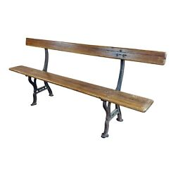 19th Century Cast Iron And Wood Outdoor Farm Seating Bench