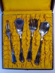 Antique French Silver Plated Dessert Pastry Serving Set 4 Pieces Silverplate