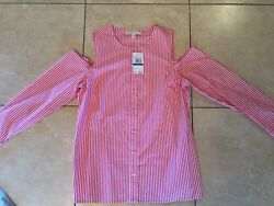 NWT Michael Kors Open Shoulder Button Down Striped Shirt Top Blouse Large Womens