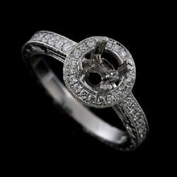 Vintage Style Halo Engraved Platinum Engagement Ring Mounting 2mm Wide